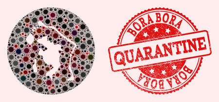 Vector map of Bora-Bora collage of coronavirus and red grunge quarantine seal stamp. Infection cells attack the quarantine territory from out space.