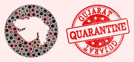 Vector map of Gujarat State mosaic of covid-2019 virus and red grunge quarantine stamp. Infection cells around the quarantine territory from outside.
