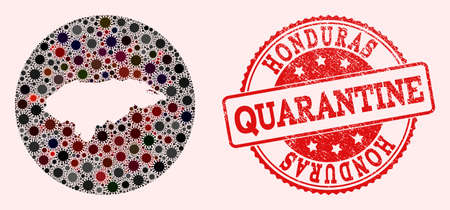 Vector map of Honduras collage of SARS virus and red grunge quarantine stamp. Infection cells attack the quarantine territory from external zone.