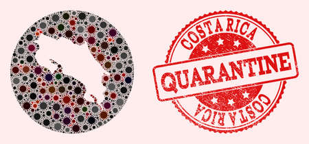 Vector map of Costa Rica collage of SARS virus and red grunge quarantine seal stamp. Infection cells around the quarantine territory from out space.