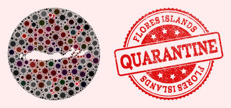 Vector map of Indonesia - Flores Islands collage of coronavirus and red grunge quarantine stamp. Infection cells attack the quarantine territory from outside.