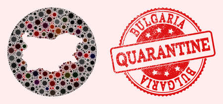 Vector map of Bulgaria mosaic of coronavirus and red grunge quarantine stamp. Infection cells attack the quarantine territory from external zone. 向量圖像
