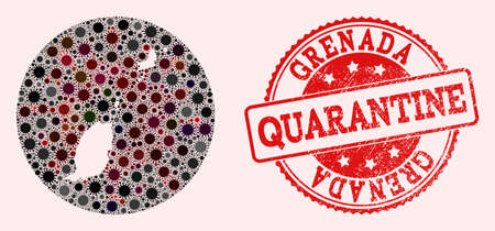 Vector map of Grenada Islands collage of SARS virus and red grunge quarantine stamp. Infection cells attack the lockdown territory from outside.