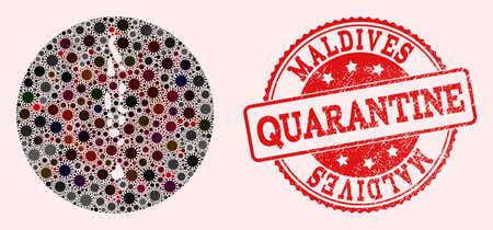 Vector Maldives map collage of flu virus and red grunge quarantine seal. Infection cells attack the isolated territory from external zone.