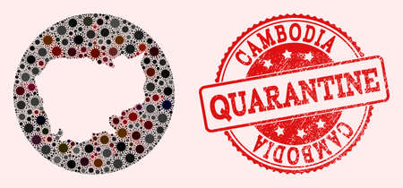 Vector map of Cambodia mosaic of coronavirus and red grunge quarantine seal. Infection cells around the quarantine territory from outside.