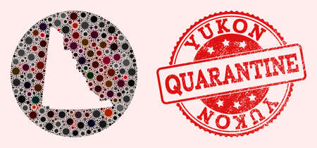 Vector map of Yukon Province collage of coronavirus and red grunge quarantine stamp. Infection cells attack the quarantine territory from out space.