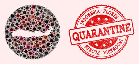 Vector map of Indonesia - Flores Island collage of SARS virus and red grunge quarantine seal. Infection cells attack the quarantine territory from out space.