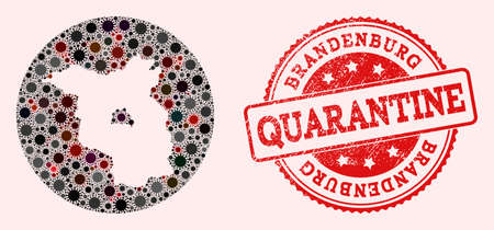 Vector map of Brandenburg State collage of SARS virus and red grunge quarantine seal stamp. Infection cells attack the lockdown territory from external zone.