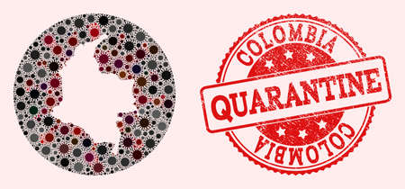 Vector map of Colombia collage of SARS virus and red grunge quarantine stamp. Infection cells attack the isolated territory from external zone.