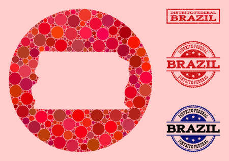 Vector map of Brazil - Distrito Federal collage of circle items and red rubber stamp. Stencil circle map of Brazil - Distrito Federal collage created with circles in variable sizes,