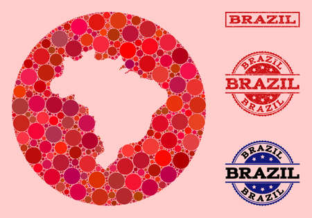 Vector map of Brazil collage of round items and red grunge seal. Stencil circle map of Brazil collage composed with circles in various sizes, and red shades.