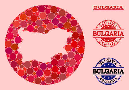 Vector map of Bulgaria collage of circle blots and red watermark seal stamp. Subtraction round map of Bulgaria collage created with circles in variable sizes, and red shades. 向量圖像