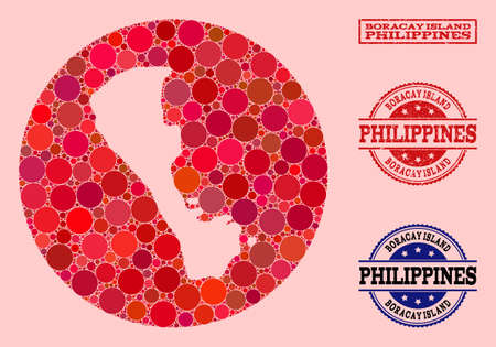 Vector map of Boracay Island collage of round items and red rubber stamp. Subtraction round map of Boracay Island collage created with circles in various sizes, and red color tones.