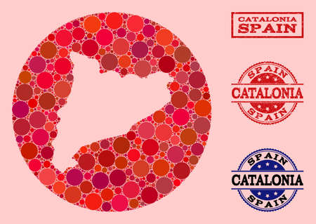 Vector map of Catalonia collage of round elements and red grunge stamp. Stencil round map of Catalonia collage formed with circles in various sizes, and red color tinges.
