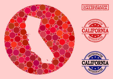 Vector map of California collage of spheric elements and red scratched seal stamp. Subtraction round map of California collage created with circles in various sizes, and red color hues.