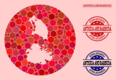 Vector map of Antigua and Barbuda collage of round dots and red grunge seal stamp. Hole round map of Antigua and Barbuda collage formed with circles in variable sizes, and red color tones.