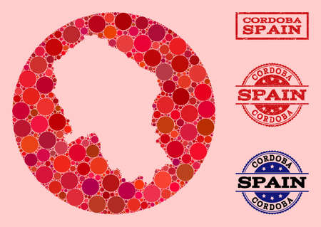 Vector map of Cordoba Spanish Province collage of circle elements and red grunge stamp. Subtraction circle map of Cordoba Spanish Province collage designed with circles in variable sizes,