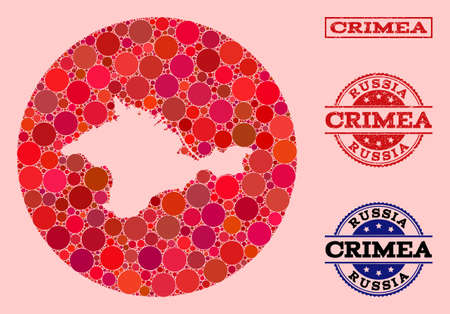 Vector map of Crimea collage of spheric spots and red scratched seal. Subtraction round map of Crimea collage formed with circles in various sizes, and red shades.