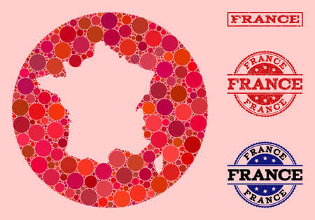 Vector map of France collage of spheric spots and red scratched seal. Stencil circle map of France collage designed with circles in variable sizes, and red color tints.