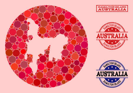 Vector map of Hamilton Island collage of circle items and red grunge stamp. Hole circle map of Hamilton Island collage designed with circles in different sizes, and red color tinges.