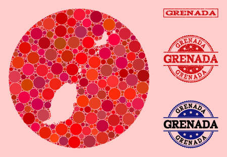 Vector map of Grenada Islands collage of round blots and red grunge seal stamp. Stencil round map of Grenada Islands collage created with circles in different sizes, and red shades.