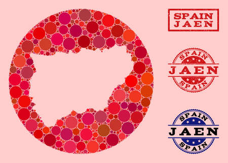 Vector map of Jaen Spanish Province collage of round dots and red rubber seal. Hole round map of Jaen Spanish Province collage composed with circles in various sizes, and red color tints.