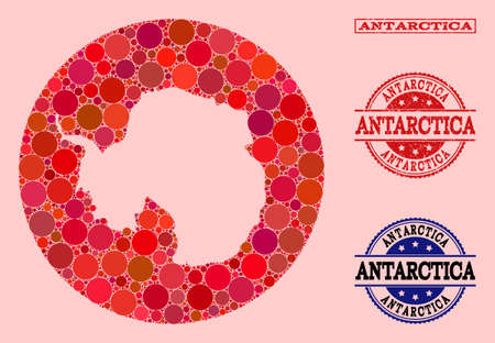 Vector map of Antarctica collage of round elements and red grunge stamp. Hole round map of Antarctica collage composed with circles in different sizes, and red shades. Illustration
