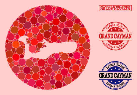 Vector map of Grand Cayman Island mosaic of round dots and red rubber seal stamp. Hole round map of Grand Cayman Island collage formed with circles in variable sizes, and red shades.