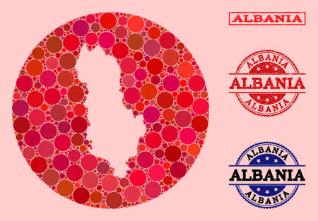 Vector map of Albania collage of circle elements and red grunge seal. Subtraction round map of Albania collage composed with circles in different sizes, and red color tints.