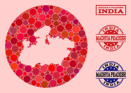 Vector map of Madhya Pradesh State collage of round elements and red rubber seal stamp. Hole round map of Madhya Pradesh State collage composed with circles in various sizes, and red color tinges.