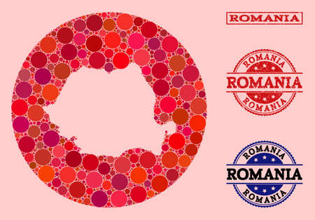 Vector map of Romania collage of round elements and red watermark seal stamp. Stencil round map of Romania collage created with circles in different sizes, and red shades.