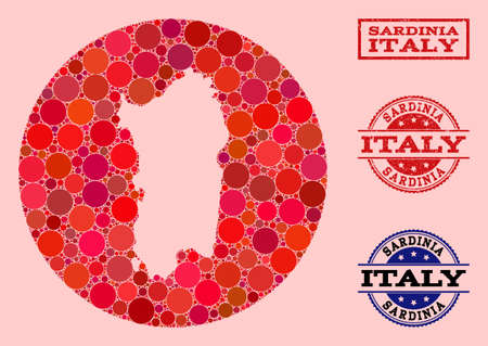 Vector map of Sardinia region collage of spheric items and red watermark seal. Stencil round map of Sardinia region collage created with circles in various sizes, and red color tones. Stock Illustratie