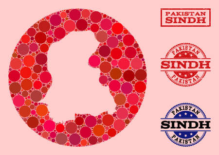 Vector map of Sindh Province collage of circle dots and red rubber stamp. Stencil circle map of Sindh Province collage composed with circles in variable sizes, and red color tinges.