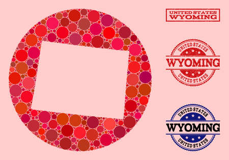 Vector map of Wyoming State collage of round spots and red grunge seal stamp. Hole round map of Wyoming State collage composed with circles in various sizes, and red color tones. 向量圖像
