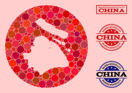 Vector map of Shanghai Municipality collage of round dots and red grunge seal stamp. Stencil round map of Shanghai Municipality collage formed with circles in different sizes, and red color hues.