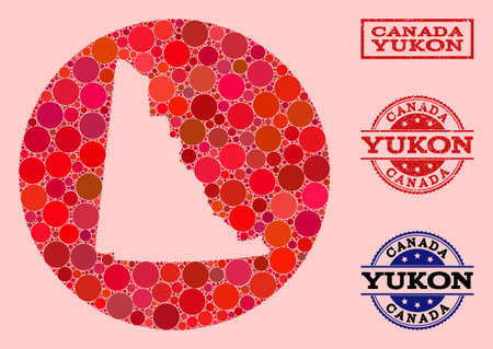 Vector map of Yukon Province collage of round spots and red rubber seal. Stencil round map of Yukon Province collage designed with circles in various sizes, and red color tones.