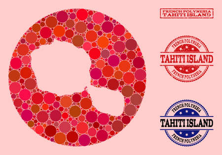 Vector map of Tahiti Island mosaic of round items and red grunge stamp. Stencil circle map of Tahiti Island collage composed with circles in various sizes, and red shades.
