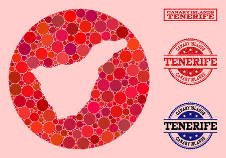 Vector map of Tenerife Island mosaic of circle dots and red scratched seal stamp. Subtraction round map of Tenerife Island collage created with circles in variable sizes, and red color tinges. Illustration