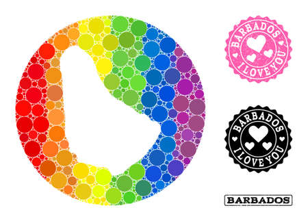 Vector mosaic LGBT map of Barbados with spheric elements, and Love rubber seal. Hole round map of Barbados collage composed with circles in variable sizes, and spectrum bright color tinges.
