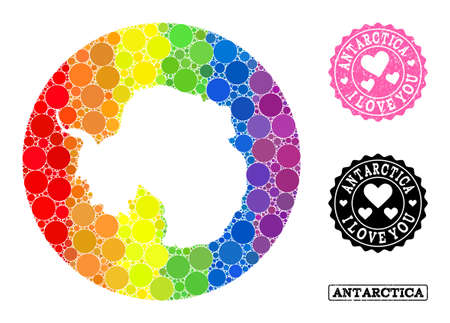 Vector mosaic LGBT map of Antarctica with circle blots, and Love rubber seal stamp. Hole circle map of Antarctica collage created with circles in various sizes, and rainbow colorful color hues.