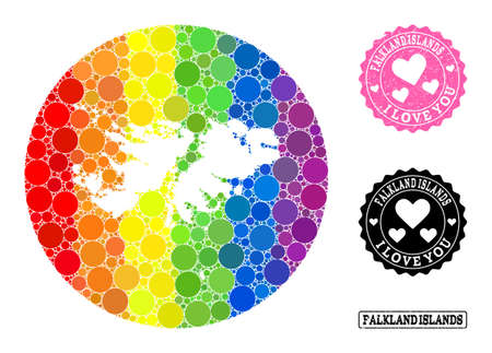 Vector mosaic LGBT map of Falkland Islands with circle elements, and Love watermark stamp. Hole circle map of Falkland Islands collage formed with circles in variable sizes,