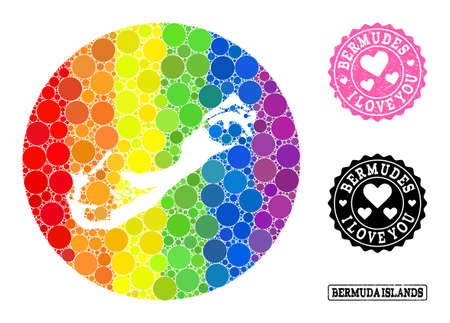 Vector mosaic LGBT map of Bermuda Islands of circle elements, and Love watermark stamp. Subtraction circle map of Bermuda Islands collage created with circles in variable sizes, Ilustração