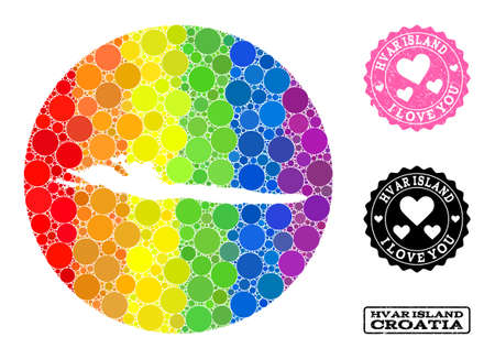 Vector mosaic LGBT map of Hvar Island with round elements, and Love rubber seal stamp. Stencil round map of Hvar Island collage designed with circles in various sizes,