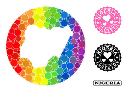 Vector mosaic LGBT map of Nigeria with circle elements, and Love rubber seal stamp. Hole round map of Nigeria collage created with circles in various sizes, and rainbow multicolored color tones. Ilustracja