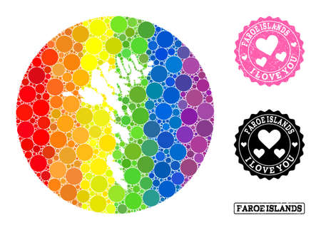 Vector mosaic LGBT map of Faroe Islands with circle items, and Love grunge seal. Subtraction circle map of Faroe Islands collage created with circles in various sizes, and rainbow colored color hues. Ilustracja