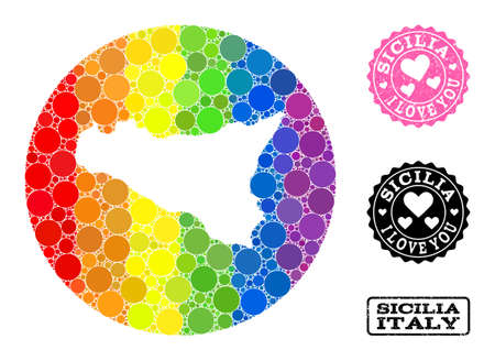 Vector mosaic LGBT map of Sicilia Island of round dots, and Love grunge seal. Subtraction round map of Sicilia Island collage composed with circles in different sizes, and rainbow bright color tinges.