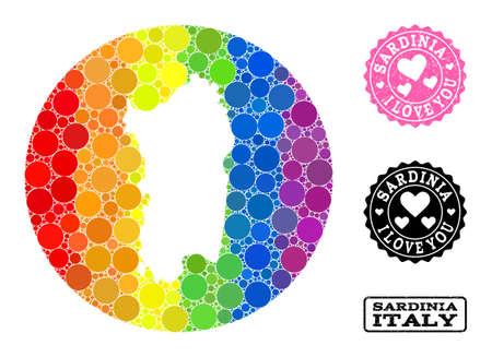 Vector mosaic LGBT map of Sardinia region from round blots, and Love watermark seal. Hole round map of Sardinia region collage composed with circles in various sizes, and rainbow bright color hues. Ilustracja