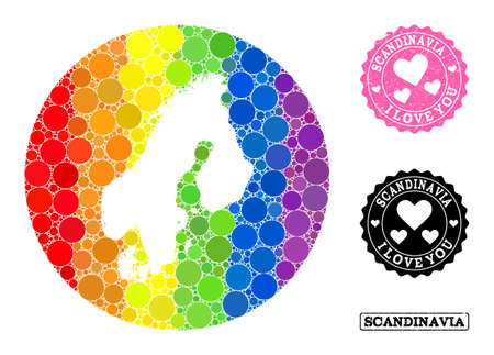 Vector mosaic LGBT map of Scandinavia with circle items, and Love watermark seal stamp. Subtraction circle map of Scandinavia collage composed with circles in various sizes,