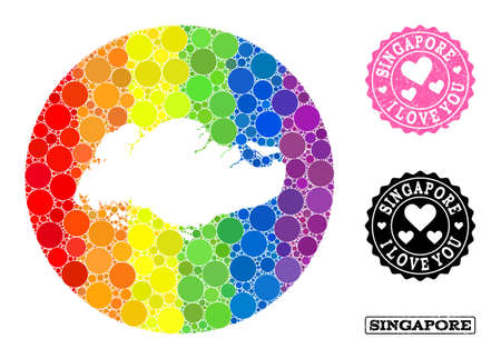 Vector mosaic LGBT map of Singapore from circle elements, and Love rubber stamp. Hole circle map of Singapore collage composed with circles in variable sizes, and spectrum bright color tinges. 写真素材 - 148708558