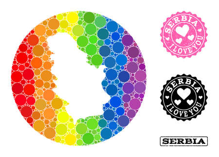 Vector mosaic LGBT map of Serbia with round blots, and Love rubber seal. Stencil circle map of Serbia collage formed with circles in various sizes, and rainbow bright color tinges.